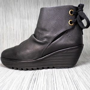 Fly London Pebbled Leather Wedge Boots EU 39 US8.5
